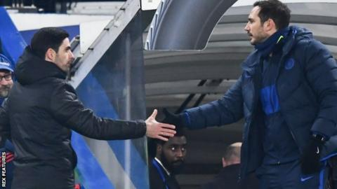 Arsenal boss Mikel Arteta (left) shakes hands with Chelsea boss Frank Lampard