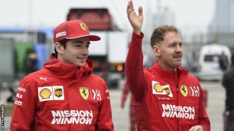 Sebastian Vettel and Charles Leclerc