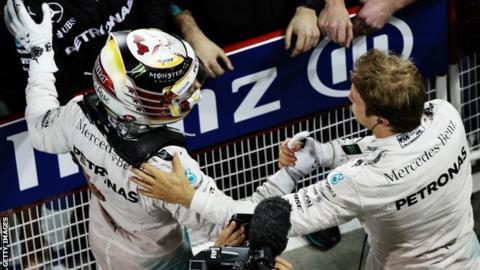 Mercedes F1 drivers Lewis Hamilton and Nico Rosberg