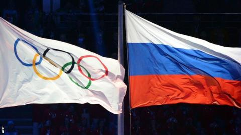 Olympic and Russian flag