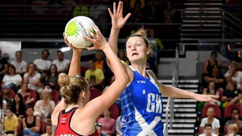 Joanne Harten of England is challenged by Scotland's Hayley Mulheron