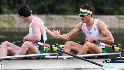 Ronan Byrne and Philip Doyle celebrate winning their repechage heat in Bulgaria
