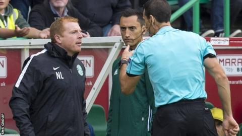 Neil Lennon was sent off by Spanish referee Martinez Munuera