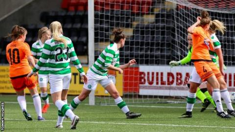 Clare Shine scores for Glasgow City against Celtic