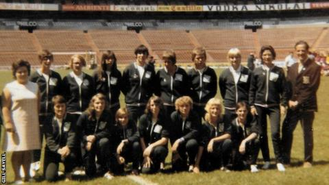 The England squad at the unofficial women's World Cup in Mexico in 1971