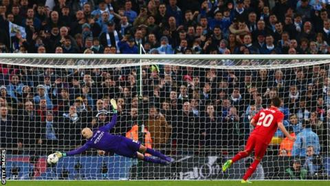 Caballero saves Lallana's penalty