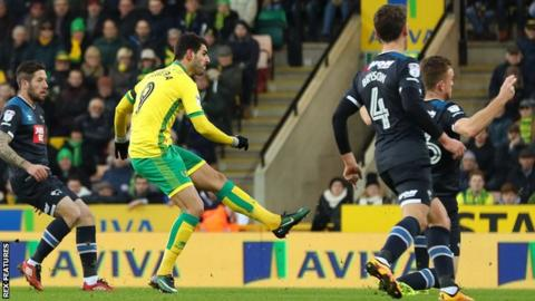 Nelson Oliveira shoots Norwich in front at Carrow Road