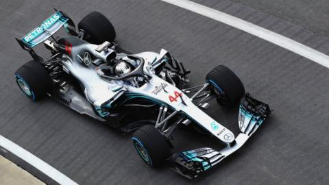 Lewis Hamilton of Great Britain and Mercedes GP driving the Mercedes W09 on track during the launch of the Mercedes Formula One team's 2018 car, the W09, at Silverstone Circuit