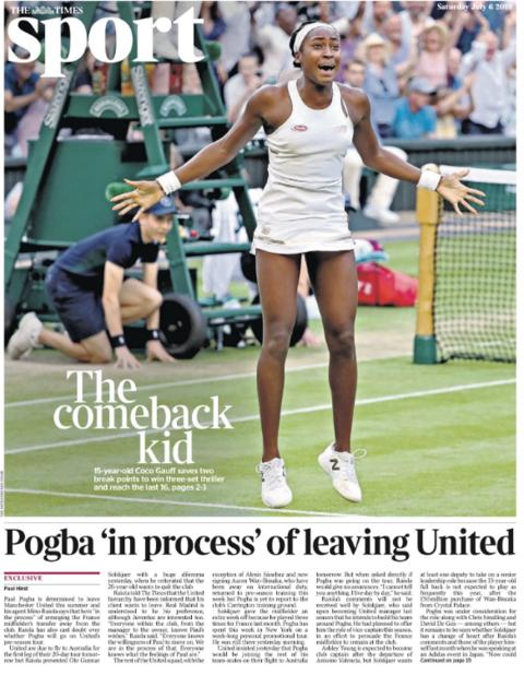 The Times showcase Gauff and also carry news on Paul Pogba's future