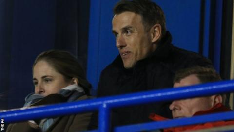 New England women's boss Phil Neville watches Liverpool and Bristol City in the WSL