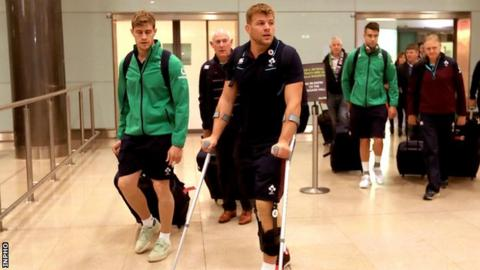 Jordi Murphy at Dublin Airport with the Ireland squad on Monday morning