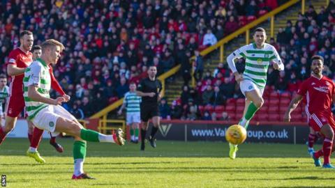 Kristoffer Ajer scores Celtic's late winner against Aberdeen