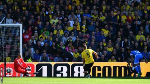 Callum Wilson heads Bournemouth ahead against Watford