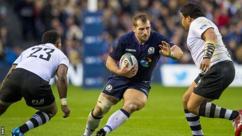 Fraser Brown in action for Scotland against Fiji