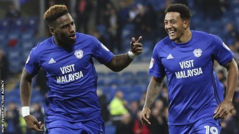 Omar Bogle celebrates scoring his first goal for Cardiff City