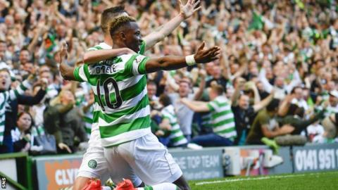 Celtic's Mikael Lustig and Moussa Dembele celebrate