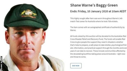 Shane Warne: Australian cricket great sells 'baggy green' cap' for bushfire appeal