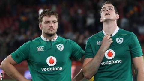 Iain Henderson and Devin Toner show their disappointment after the game at Ellis Park