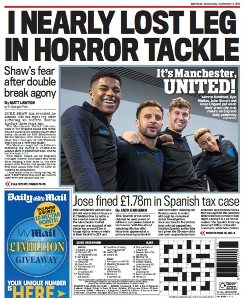 Daily Mail back page on Wednesday