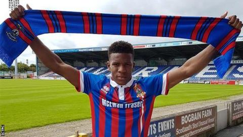 Riccardo Calder with his Inverness Caley Thistle scarf