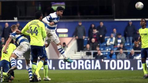 Massimo Luongo rises to head in QPR's equaliser against Derby