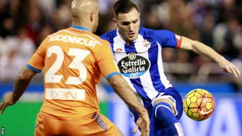 Lucas Perez playing for Deportivo la Coruna against Valencia