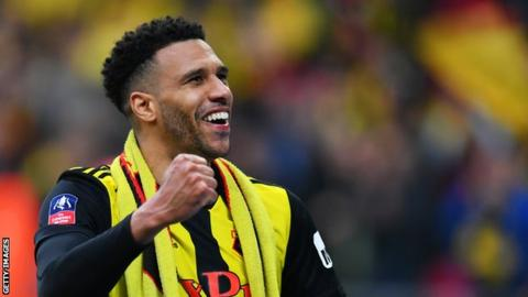 Etienne Capoue celebrates Watford's FA Cup semi-final win over Wolves at Wembley