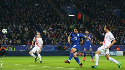 Shinji Okazaki celebrates scoring for Leicester City against Club Brugge