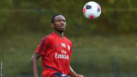 Nigerian Kelechi Nwakali training at Arsenal