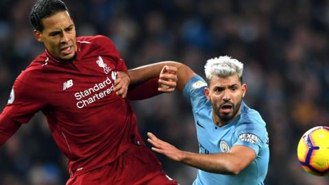 Liverpool's Virgil van Dijk takes on Man City Sergio Aguero
