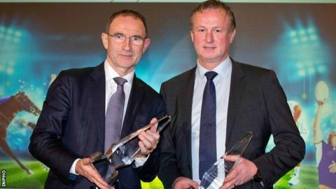 Martin O'Neill and Michael O'Neill at the Manager of the Year awards in Dublin