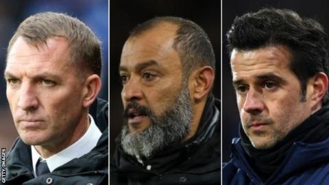 Leicester manager Brendan Rodgers, Wolves head coach Nuno Espirito Santo and Everton manager Marco Silva