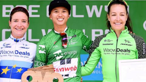 Marianne Vos, Coryn Rivera and Dani Rowe on the Women's Tour podium in 2018
