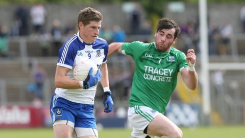 Monaghan's Darren Hughes and Fermanagh's Barry Mulrone in action during Sunday's semi-final