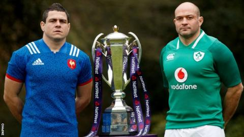 France captain Guilhem Guirad and Ireland skipper Rory Best