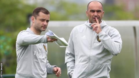 Belgium's Shaun Maloney and Roberto Martinez