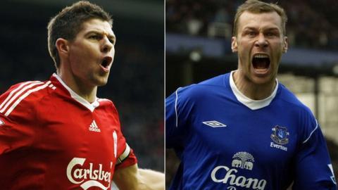 Steven Gerrard and Duncan Ferguson