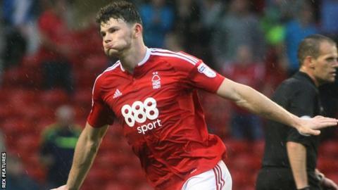 Oliver Burke celebrates with Nottingham Forest