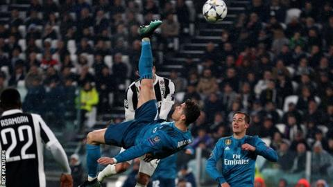 Cristiano Ronaldo scores for Real Madrid against Juventus