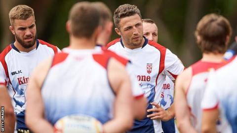 Sam Burgess and his England rugby league team-mates in training