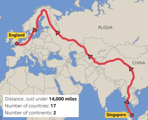 World map of the route (from Singapore to England)
