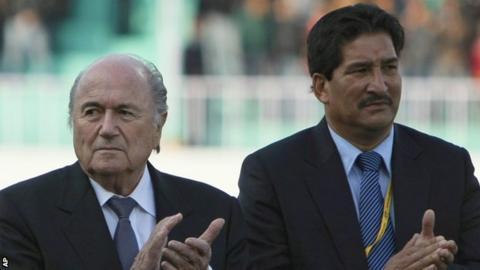 Fifa president Sepp Blatter (left) and Ganesh Thapa