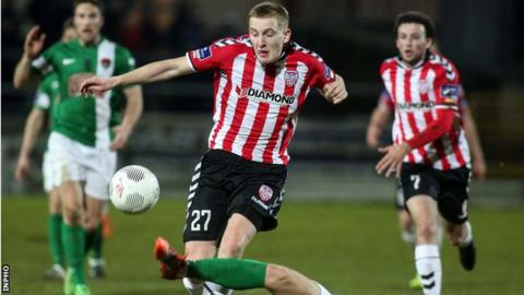 Ronan Curtis drives forward against Cork with his goal proving decisive at the Brandywell