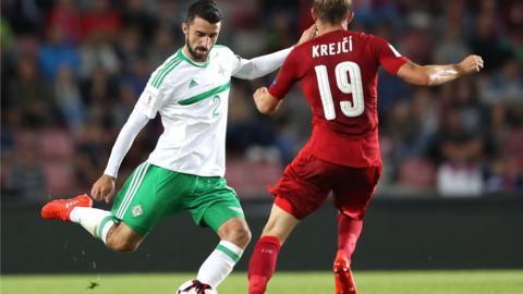 Conor McLaughlin clears from Czech Republic's Ladislav Krejci