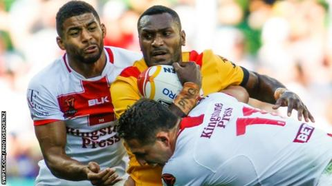 Widnes' Wellington Albert offered support after Kato Ottio's death