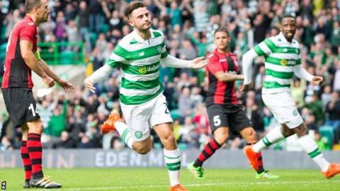 Patrick Roberts celebrates scoring Celtic's first goal