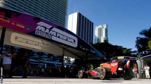 A Red Bull F1 car at an exhibition in Miami