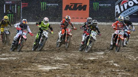 PANGKALPINANG, BANGKA, INDONESIA - JULY 01: Riders compete during the MXGP Race 1 on day two of the FIM Motocross World Championship - Indonesia MX2 on July 1, 2018 in Pangkalpinang, Bangka, Indonesia. (Photo by Robertus Pudyanto/Getty Images)