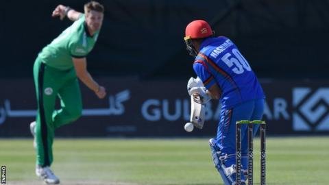 Northern Ireland Ireland paceman Boyd Rankin sends down a delivery to Afghan batsman Hasmatullah Shahidi