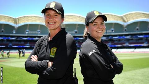 Claire Polosak (left) became the first female umpire to officiate in a men's one-dayer while Eloise Sheridan has joined the ICC development panel
